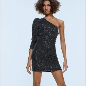 Zara Asymmetric Sequin Dress
